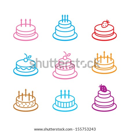 birthday cake icon - stock vector