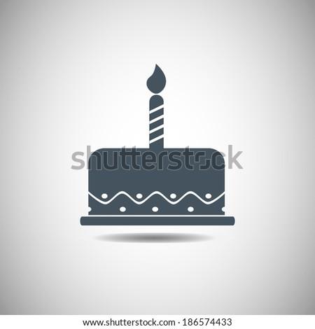 birthday cake icon, vector illustration. Flat design style  - stock vector