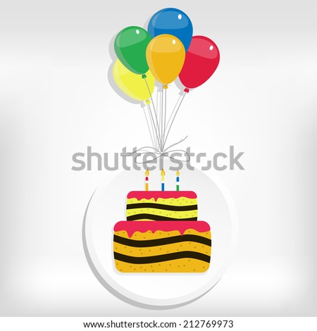 Birthday cake in a circle with helium balloons. Birthday card with cake and balloon - stock vector