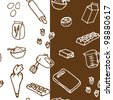 Birthday cake ingredients seamless pattern - stock vector