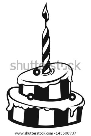 Birthday cake isolated on white background - stock vector