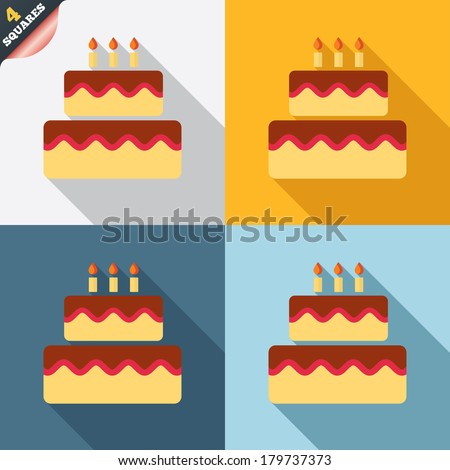 Birthday cake sign icon. Cake with burning candles symbol. Four squares. Colored Flat design buttons. Vector - stock vector