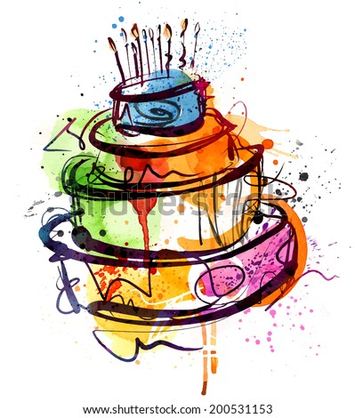 Birthday Cake Water Color - stock vector