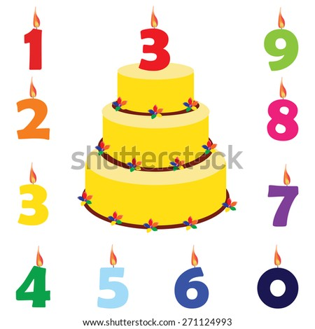 Birthday cake with birthday candles numbers one, two, three, four, five, six, seven, eight, nine, zero, vector set - stock vector