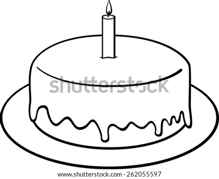 birthday cake with candle - stock vector