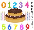 Birthday Cake With Candles Of Different Form, Isolated On White Background, Vector Illustration - stock vector