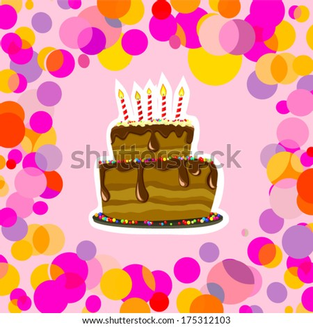 Birthday cake with confetti. Vector - stock vector