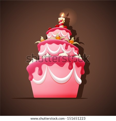 Birthday cake with meringues, cherry, ground cherry and candle - stock vector