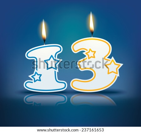 Birthday candle number 13 with flame - eps 10 vector illustration - stock vector
