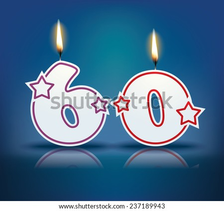 Birthday candle number 60 with flame - eps 10 vector illustration - stock vector