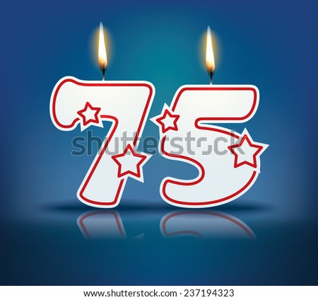 Birthday candle number 75 with flame - eps 10 vector illustration - stock vector