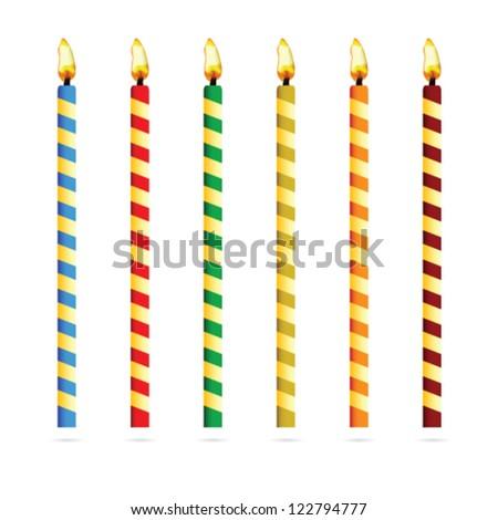birthday candles for cake vector art illustration - stock vector