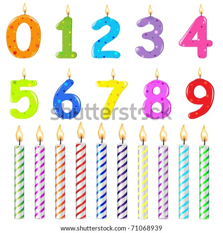 Birthday Candles Of Different Form, Isolated On White Background, Vector Illustration - stock vector