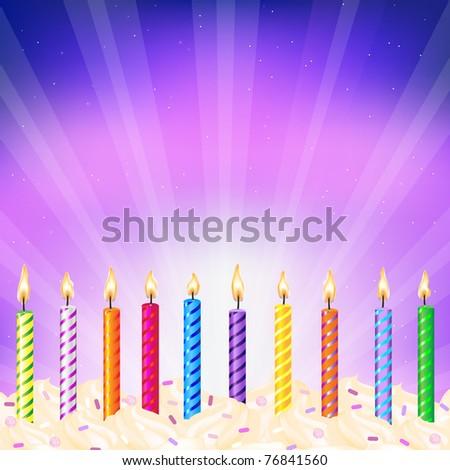 Birthday Candles, Vector Illustration - stock vector