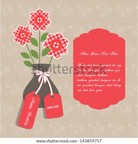 Birthday card for mother with vase and birthday tag. set on a flowers background. Copy space for text.Vector eps10,illustration.Raster also available. - stock vector