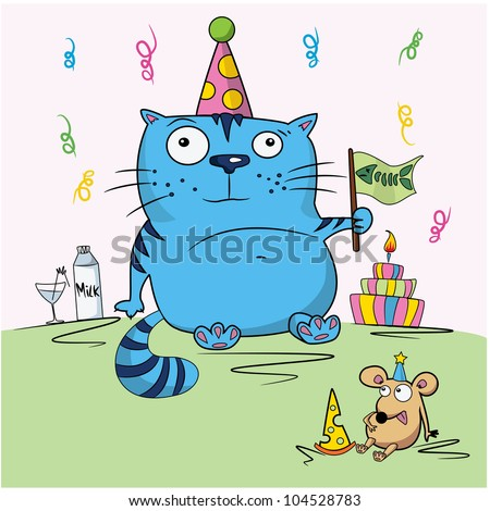 Birthday card, funny cartoon cat and mouse - stock vector