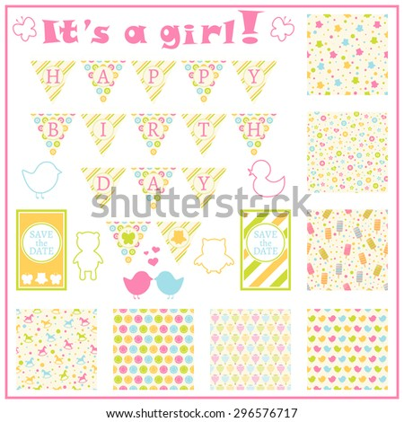 Birthday card in colorful style. Baby girl arrival card. Baby shower card. Colorful theme garland. Set of objects. Seven seamless patterns with owls, buttons, icecreams and other. Vector illustration - stock vector