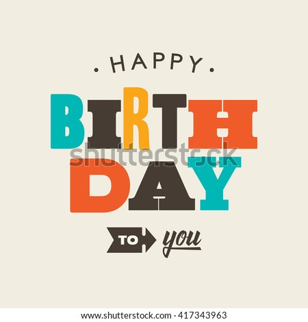Birthday card letterpress. Editable vector design. - stock vector