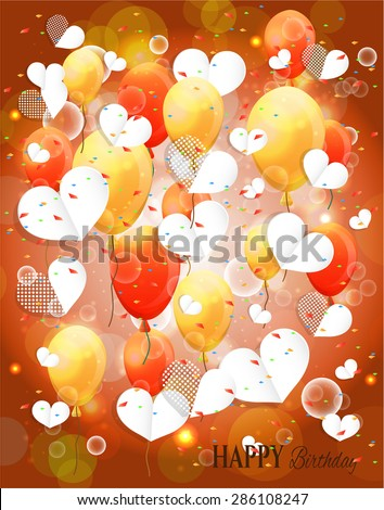 Birthday card, postcard with balloons explosion - many red, orange, yellow, flying balloons, white, dotted hearts, lights, text Happy Birthday  - stock vector