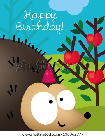Birthday card with animal character, vector illustration of cute hedgehog, porcupine - stock vector