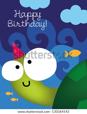 Birthday card with animal character, vector illustration of cute turtle - stock vector