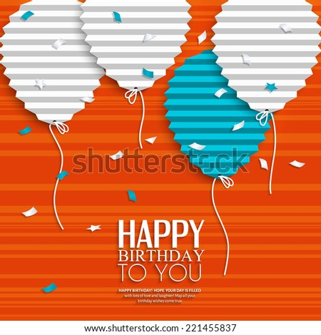 Birthday card with balloons in the style of flat folded paper. - stock vector