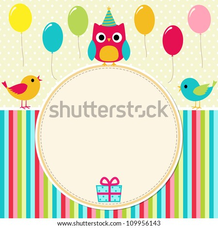 Birthday card with birds - stock vector