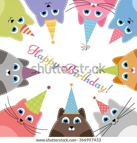 Birthday card with cats - stock vector