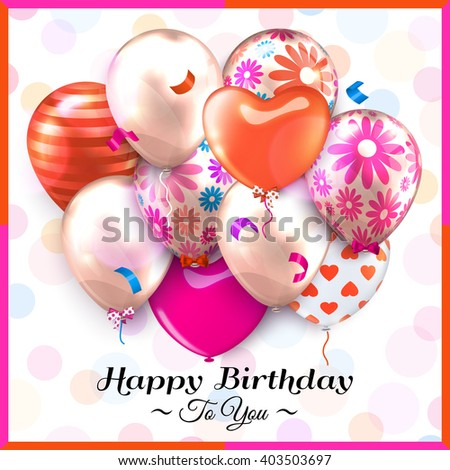 Birthday card with colorful balloons and confetti. Vector. - stock vector