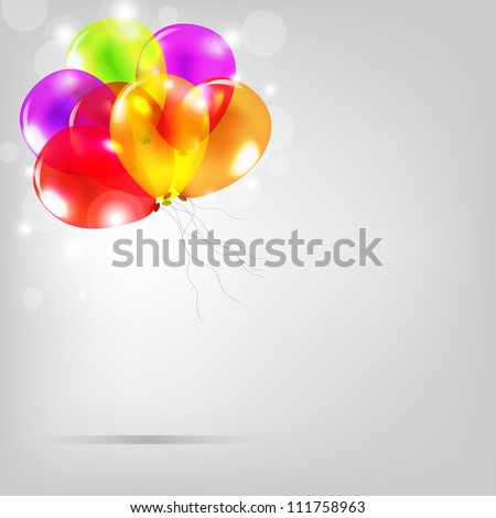 Birthday Card With Colorful Balloons, Vector Illustration - stock vector