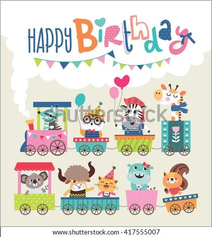 Birthday card with cute animals on train - stock vector