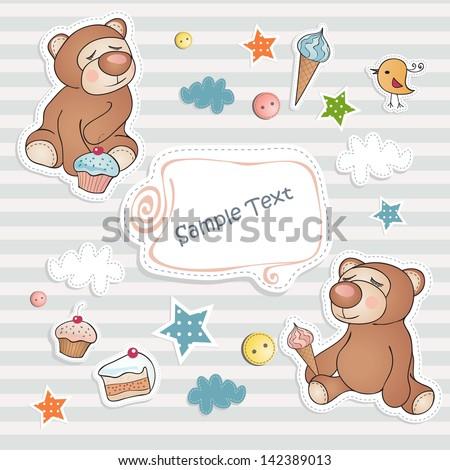 Birthday card with cute bears. - stock vector
