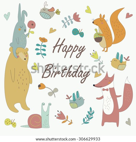Birthday card with cute bunny, bear, fox, squirrel, birds, snail, flowers and butterflies in cartoon style - stock vector