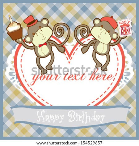 Birthday card with cute monkeys, gift and cake - stock vector