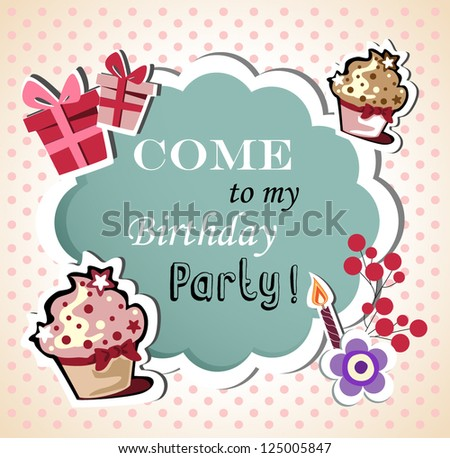 Birthday card with funny cupcake - stock vector