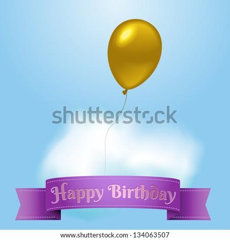 Birthday card with golden balloon, eps10 vector - stock vector
