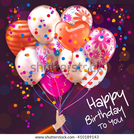 Birthday card with hand holds colorful balloons. Confetti, stars, ribbon and bow on dotted background.  Vector. - stock vector