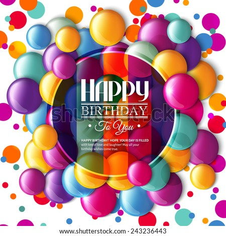 Birthday card with multicolored candy and text. - stock vector