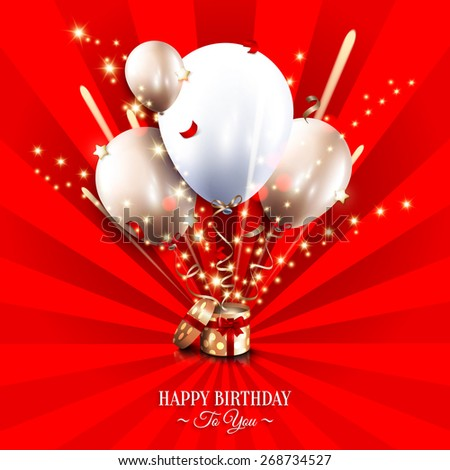 Birthday card with open gift box, balloons and magic light fireworks on the sun rays background. - stock vector