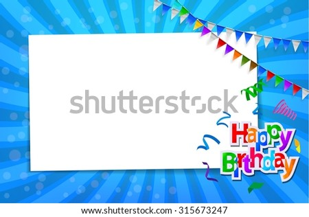 Birthday card with paper sign - stock vector