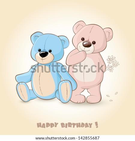 Birthday Card with Teddy Bears - stock vector