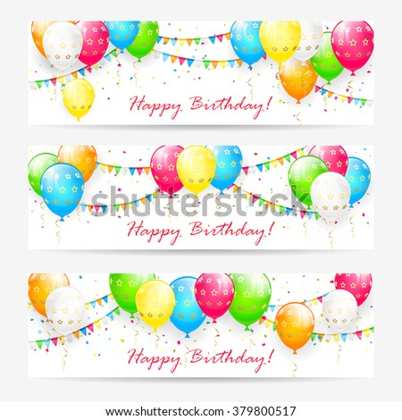 Birthday cards with colorful balloons, confetti and holiday pennants, illustration. - stock vector