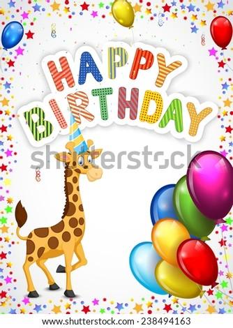 Birthday cartoon with happy giraffe - stock vector