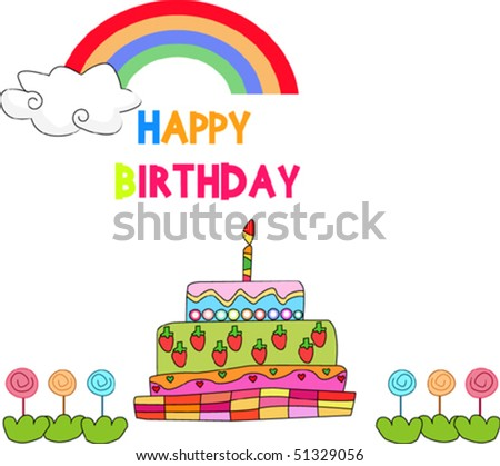 birthday celebration - stock vector