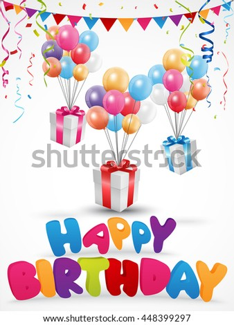Birthday celebration background with gift box and confetti - stock vector