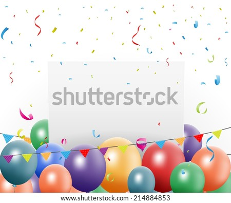 Birthday celebration design with balloon and confetti  - stock vector