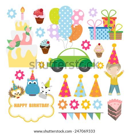 birthday celebration designing element set. vector - stock vector