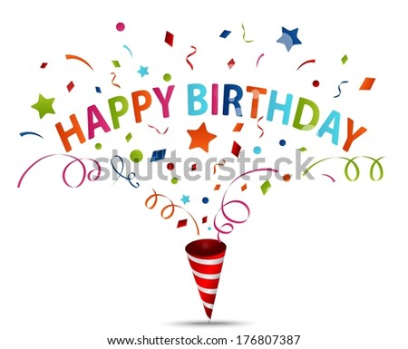 Birthday celebration with confetti  - stock vector