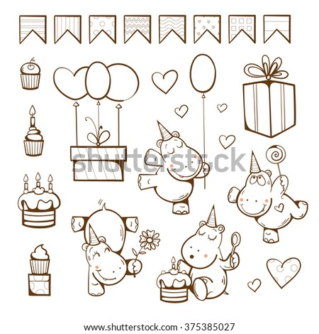 Birthday coloring  book. Cute hippopotamuses, gifts, cake, candle, balloon and candy. Vector illustration. - stock vector