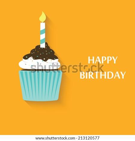 Birthday cupcake icon. Cute vector party cupcake - stock vector